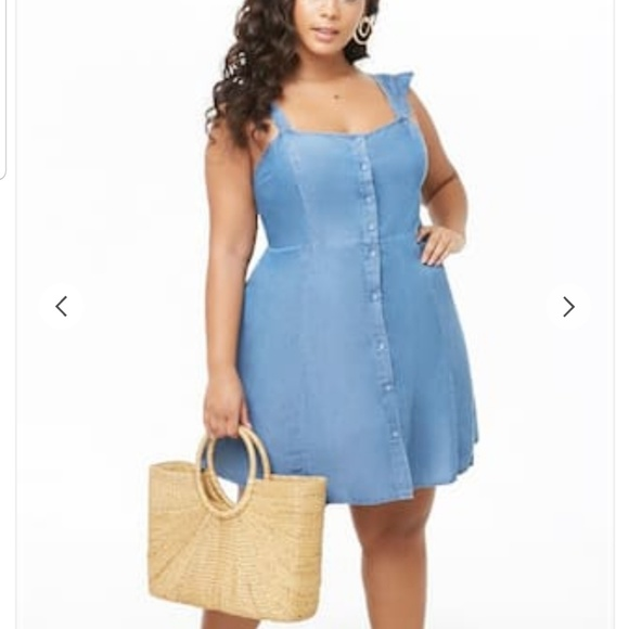 Plus size chambray mini dress NWT